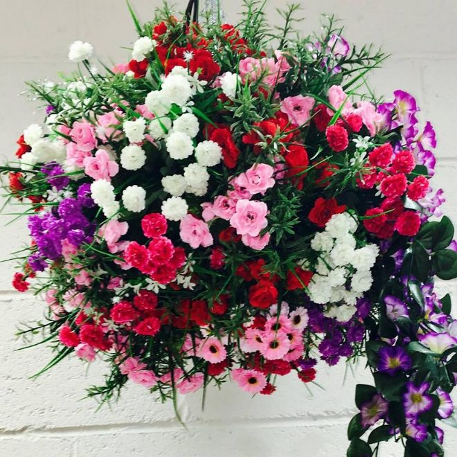 Red, Pink & Purple Basket less  Flower Bomb  XXL Approx 50cm